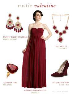 Burgundy rustic bridesmaid dress for a winter wedding