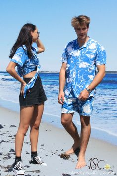 A Jaw-some Matching Couples Set - 'Jaws' Mens Shirt & Shorts + Ladies Wrap Top. Perfect outfit for a music festival, luau or cruise