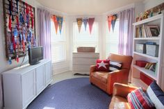 Playroom with pennant valance