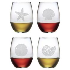 4 Piece Seashore Stemless Wine Glass Set