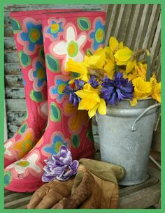 Rain boots and gardening gloves