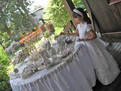la barra dulce first communion chevron white grey silver primera comunion en #Guatemala