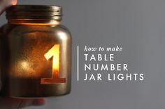DIY: Table number jar lights | Brooklyn Bride