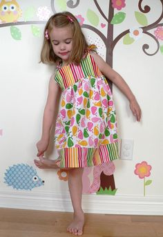 Whales and Stripes Dress for Little Girls sizes by babygraybee, $32.00