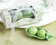 expecting twins? Twin Peas In A Pod Salt and Pepper Shakers as practical baby shower favors as low as $2.98, baby shower decorations