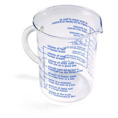 Equal Measure -- measuring cup including volume of half of a human brain, volume of body cells that die on a good day, etc. = $12.99