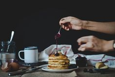 cornmeal pancakes with blackberry-goat cheese syrup   http://tworedbowls.com