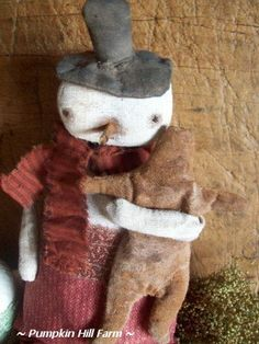 Primitive Snowman Doll With Ginger Cookie by Theredcupboard