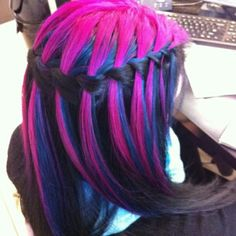 my students hair I colored. black on bottom, blue in the middle and pink on top. the ends I mixed to get purple. Beautiful!