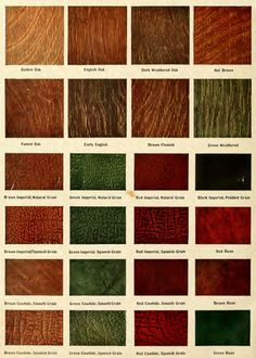 Stain colors and leather colors from the 1911 ComePackt furniture catalog.