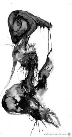 Gaping Maw  black and white - #art - #modern