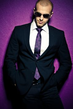 Dressed Up - Slim Fitted Suit with a Purple Tie