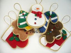 Felt Christmas Ornaments Handmade Felt Christmas by ynelcas, $35.00
