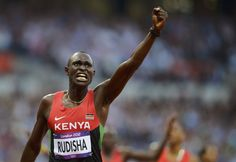 Kenya's David Lekuta Rudisha reacts after he won gold in the men's 800m final during the London 2012 Olympic Games at the Olympic Stadium