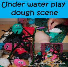 Under water play dough scene. This was great fun to make together.