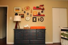 Love when a #gallerywall features more than just framed pictures! #nursery