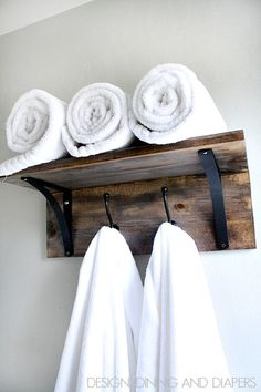 Rustic DIY Towel Organizer and Rack! Saves space and looks really easy to make. Tutorial included. via @Taryn H H H H H {Design, Dining + Diapers} towel racks, diy crafts, rustic homes, wooden towel, 40 rustic, bathroom, wood crafts, craft ideas, decor idea