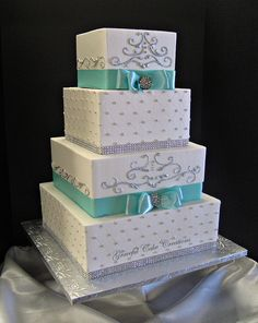 Elegant Tiffany Blue and White Square Wedding Cake with Bling.