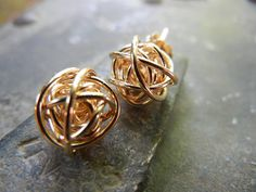 Gold Love Knot Earrings.