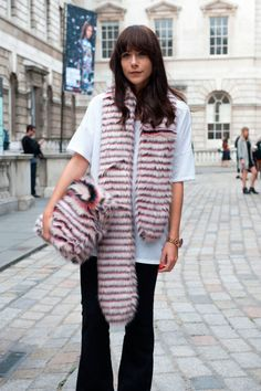 We spotted some fur on the streets durn LFW via @stylelist | http://aol.it/1sVgKE1
