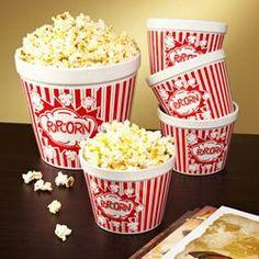 Movie Night Ceramic Popcorn Bowls, Set of 5  $34.95 popcorn bowl, gift ideas, movi night, gifts, ceramics, movie nights, fever idea, ceram popcorn, bowls