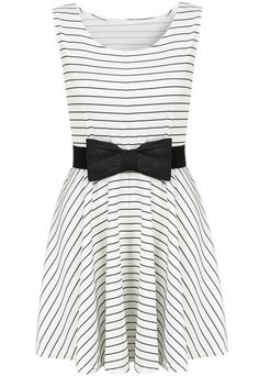 Black / White Striped Sleeveless Bow Dress