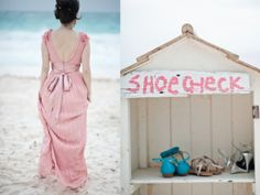 Planning a beach wedding? Turn an old cabinet into a charming shoe check for your guests. - Continued!