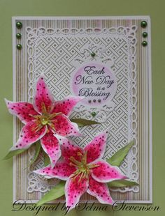 I have a tutorial on my blog on how I created this Star Gazer Lily.  http://selmasstampingcorner.blogspot.com/2013/03/build-flower-3-card-tutorial.html