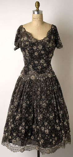Dior silk with glass beads evening dress ca. 1956