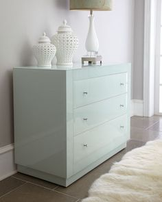 """""""Harbor"""" Mirrored Chest at Horchow. cats, mirror chest, color, dresser, harbor chest, aqua, neiman marcus, blues, chest of drawers"""