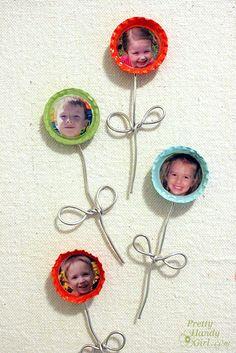 bottle caps, flower pictures, gift ideas, mothers day ideas, cap flower, pop bottles, diy christmas gifts, bottl cap, magnet