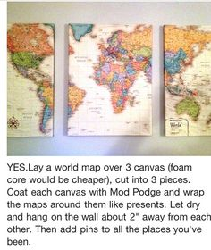 We've got globes already, but nothing says travel like a few good maps. Maps: When three dimensions are too many. craft, travel gift ideas, map journey, diy map, art project, globes and maps, apartment decorating travel, map idea, kid room