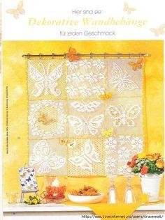 Filet crochet motifs in squares - diagrams.