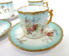 Vintage HP Limoges Cup and Saucer Robin's by MemoriesofYesterday, $65.00