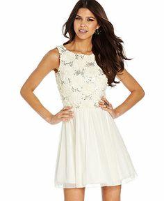 Speechless Juniors Dress, Sleeveless Sequin Rosette Chiffon - Juniors Dresses - Macy's