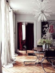 interior design, chair, curtains, design homes, home interiors, floors, light fixtures, architecture interiors, herringbone
