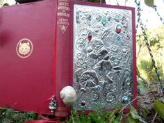 Sue Rawley book binding- Alice in wonderland. Tin relief - copper, extra heavy duty aluminum foil ? print out graphic, press relief glue down.