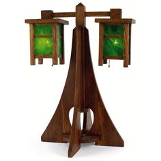Arts and Crafts   Mission oak table lamp