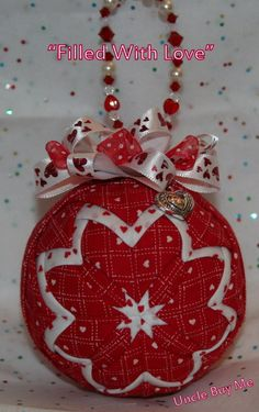 Quilted Valentine Ornament Quilt Ball Valentine's by unclebuyme, $18.00