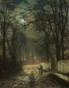 John Atkinson Grimshaw, Moonlit Lane, 1873. grimshaw 18361893, inspir, beauti, paint, 1874, artist, johnatkinson, moonlit lane, john atkinson grimshaw