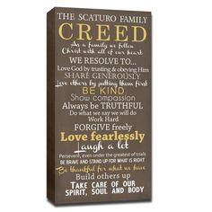 family creed canvas custom