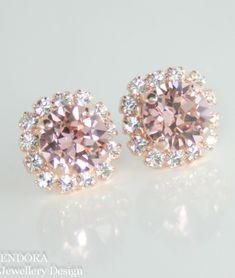 Blush pink Swarovski crystal earrings | Blush pink wedding | Rose gold bridal earrings | #EndoraJewellery $30