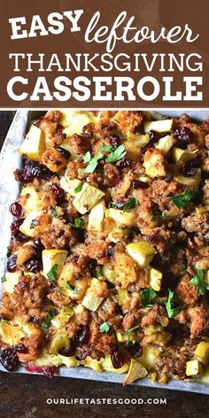 This Thanksgiving Casserole combines all of your holiday leftovers (minus the pie. Not that there should ever be leftover pie.) into one delicious casserole dish! Layer the leftover turkey, stuffing, mashed potatoes, & cranberry sauce along with our SECRET INGREDIENT for a delicious after Thanksgiving dinner that's super QUICK & EASY to make! #LTGrecipes #thanksgiving #holiday #leftovers #easyrecipe #dinnerrecipe #leftoverrecipe #holidayrecipe