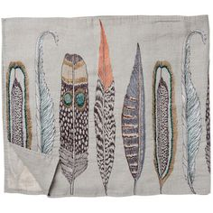 || Tea towel feather embroidery by Coral and Tusk