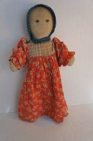 Rag doll, shoe button eyes, calico bonnet antique