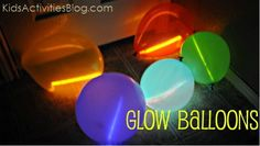 birthday parti, pool, glow balloon, glow in the dark balloons, balloons with glow sticks, fun, parti idea, kid, relay for life activities