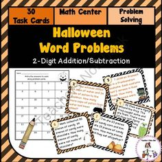 Halloween Word Problems using 2-Digit Addition Subtraction! Enter for your chance to win 1 of 3.  Halloween Word Problem Task Cards (12 pages) from Teachers Take Out on TeachersNotebook.com (Ends on on 10-26-2014)  Spruce up your 2-Digit Word Problems this holiday with these fun task cards.
