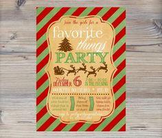 Christmas Favorite Things Party Invitation - printable digital file - Xmas Party