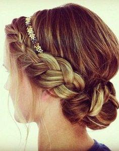 cute headband hair, braids, braid bun, beauti, hairstyl, hair style, pretti braid, headbands, updo