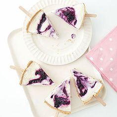 Blueberry Pie Ice Pops: vanilla yogurt, graham cracker pie shell, blueberry preserves
